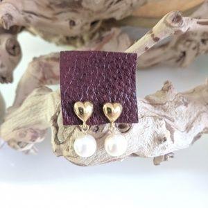 Vintage 1980's Heart & Pearl Dangle earrings